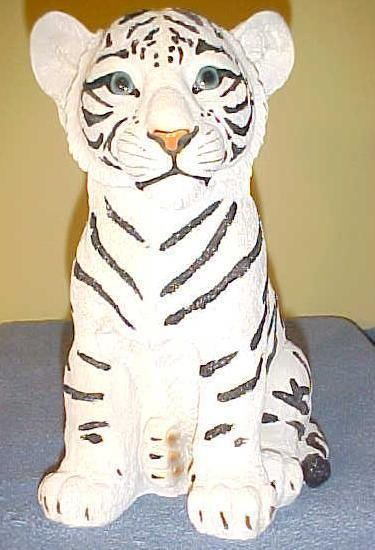 White TIGER CUB Statue Figurine Jungle Wildlife Exotic African ...