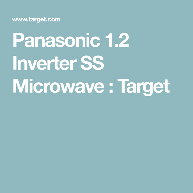 Panasonic 1 2 Inverter Microwave - Stainless Steel NN-SN67HS