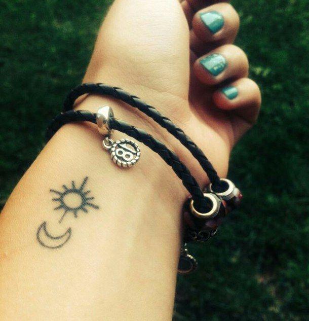 Tattoo Ideas Small Wrist: Small Tattoo, Sun And Moon, Tattoo, Tattoo Ideas, Wrist