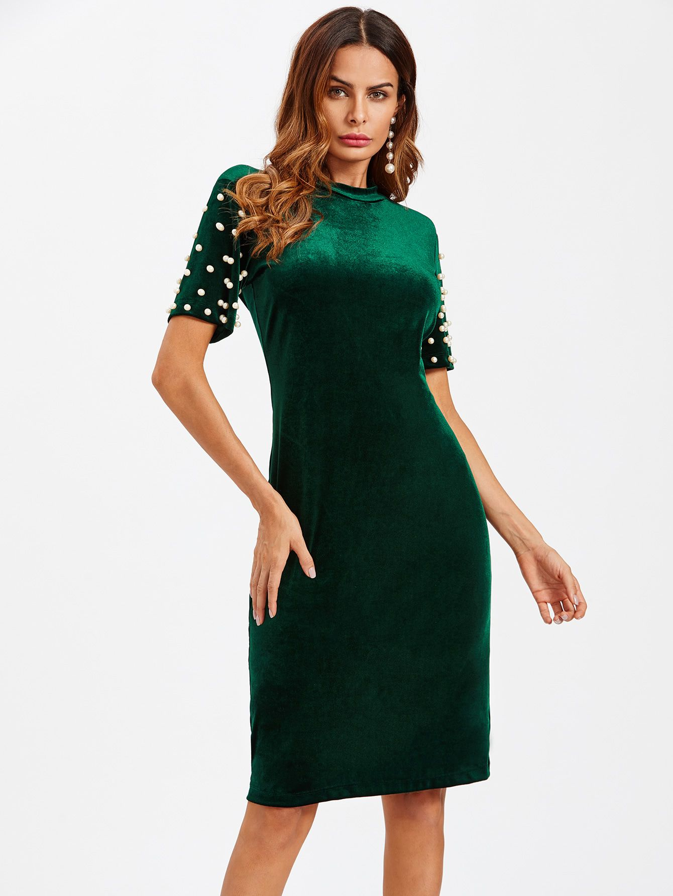 Shop Pearl Beaded Detail Velvet Dress online. SheIn offers Pearl Beaded  Detail Velvet Dress   more to fit your fashionable needs. 3debd1e7f300