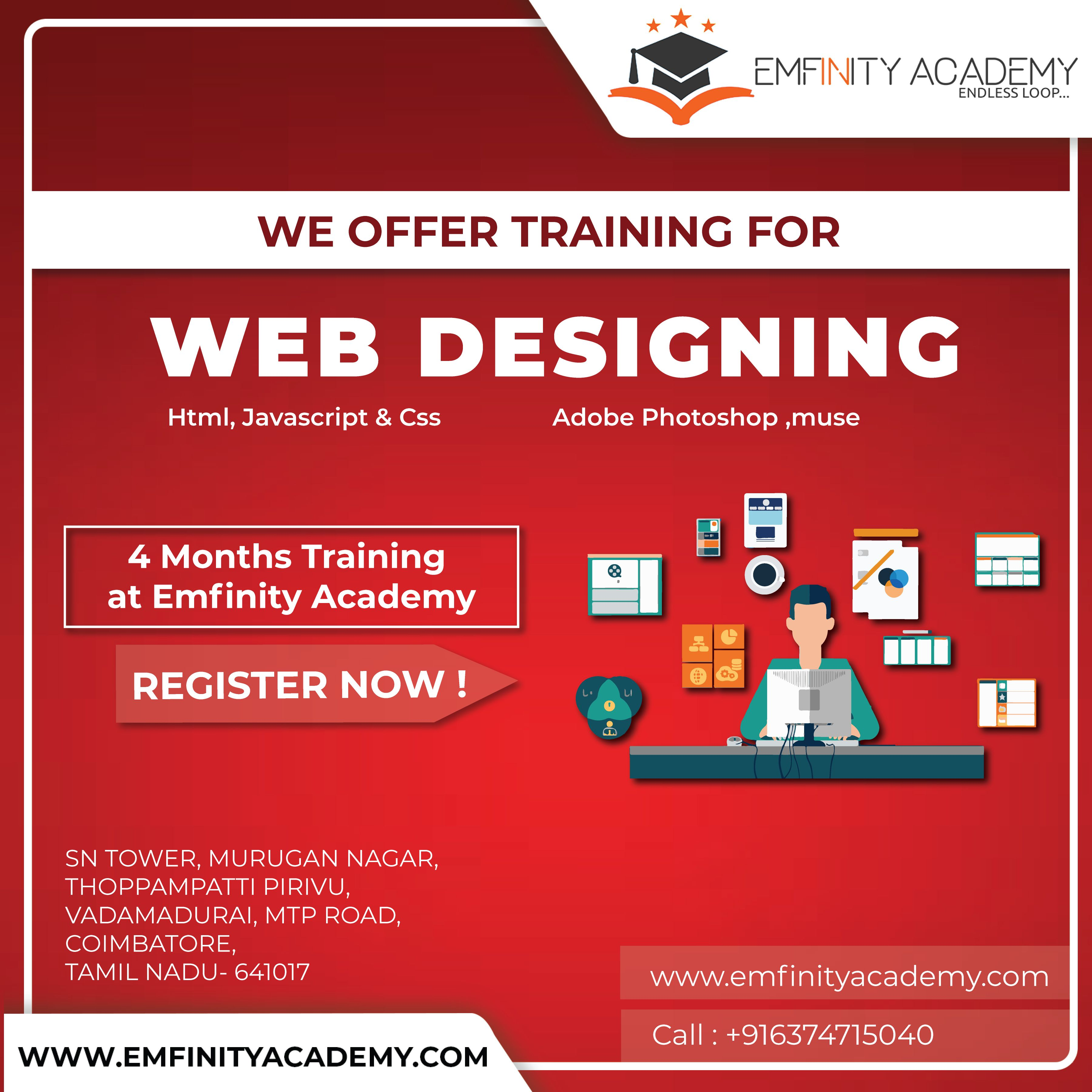 Web Designing Training Emfinity Academy Http Bit Ly 2esjp5n Course Academy Html Css Joomla Magento Web Design Digital Marketing Advanced Training
