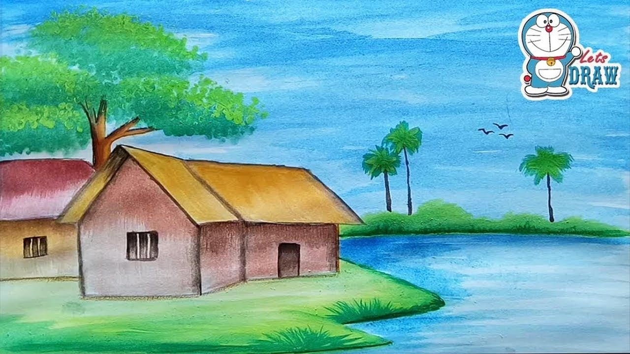 How To Draw A Scenery Landscape With Water Color For Beginners