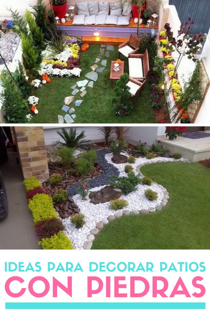 Ideas Para Decorar Patios Con Poco Dinero Decoracion Low Cost Jardin Con Piedras Patio Con Piedras Jardin Con Palmeras