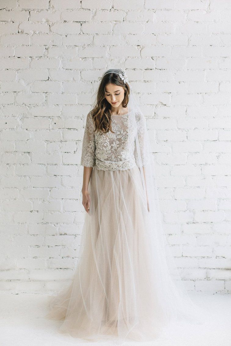 Bohemian Bridal Lace Crop Top Wedding Dress