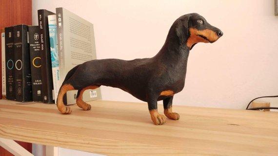 Dachshund Dog Sculpture Paper Mache Sculpture Dog Lover Gift
