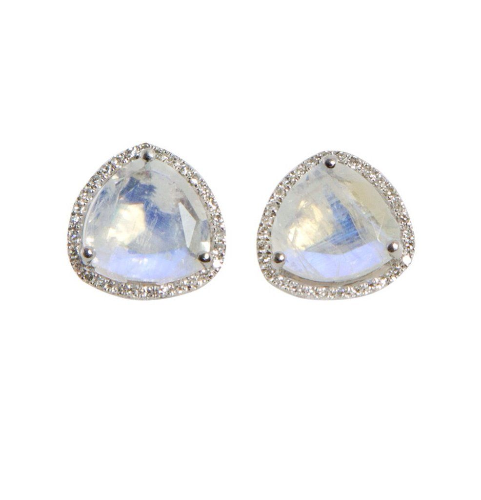 14kt Gold And Diamond Pee Triangle Moonstone Stud Earrings Total Weight 2 6
