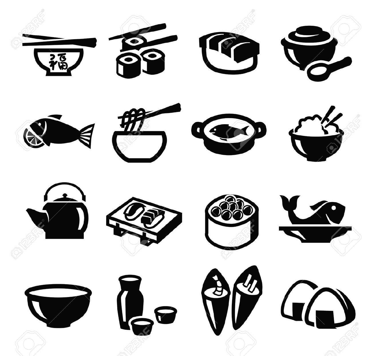 food : vector black japan food icon set on white | Geishas ...