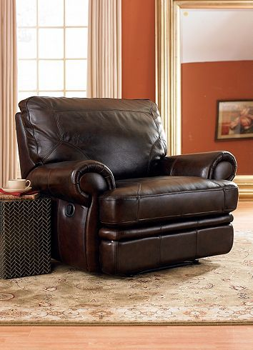 Chocolate Brown Leather Recliner Home Living Room