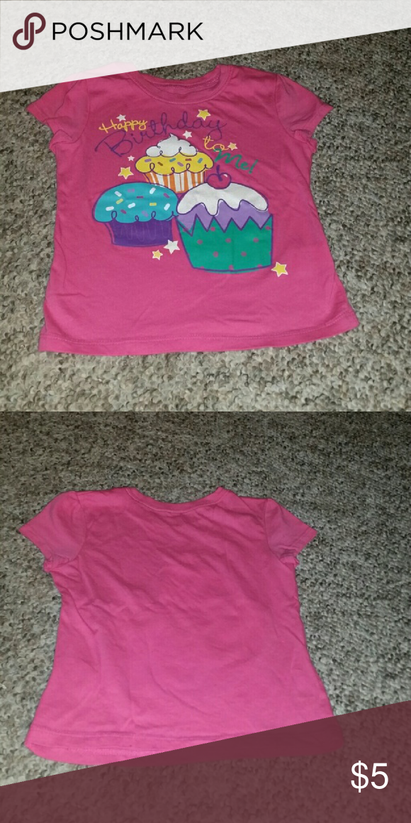 Girls 4T Pink Birthday Shirt Size With Stars And Cupcakes Printed On It The Text Reads Happy To Me In Script Childrens