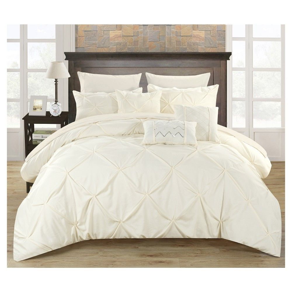 Valentina Pinch Pleated U0026 Ruffled Comforter Set 10 Piece (Queen) Beige   Chic  Home Design