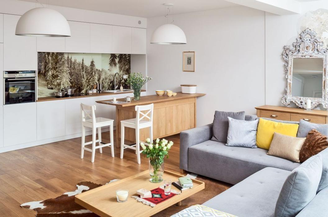 Szara Narozna Sofa W Salonie Laczonym Z Kuchnia Home Decor Furniture Interior Design