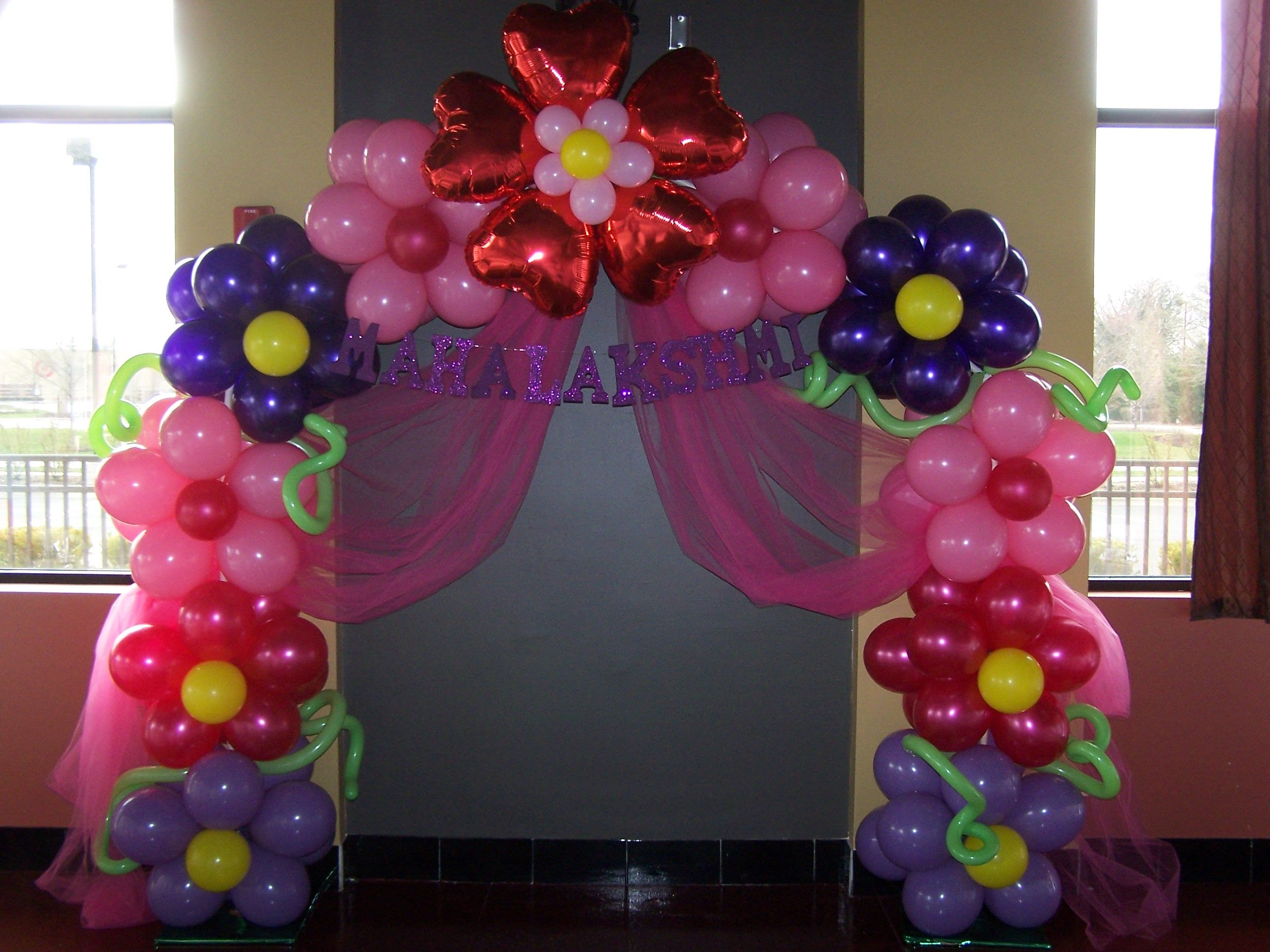 Flower arch balloon decoration by for Arch balloon decoration