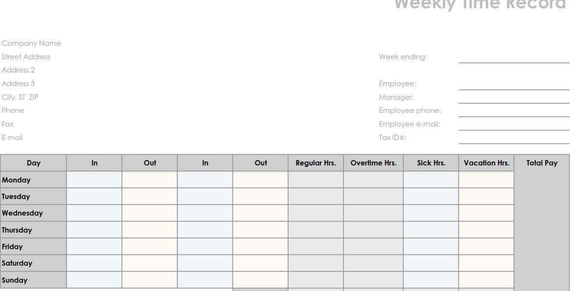 printable pdf weekly employee time sheet printable business forms