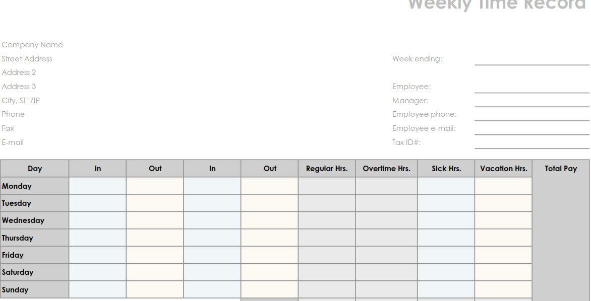 printable employee time sheets