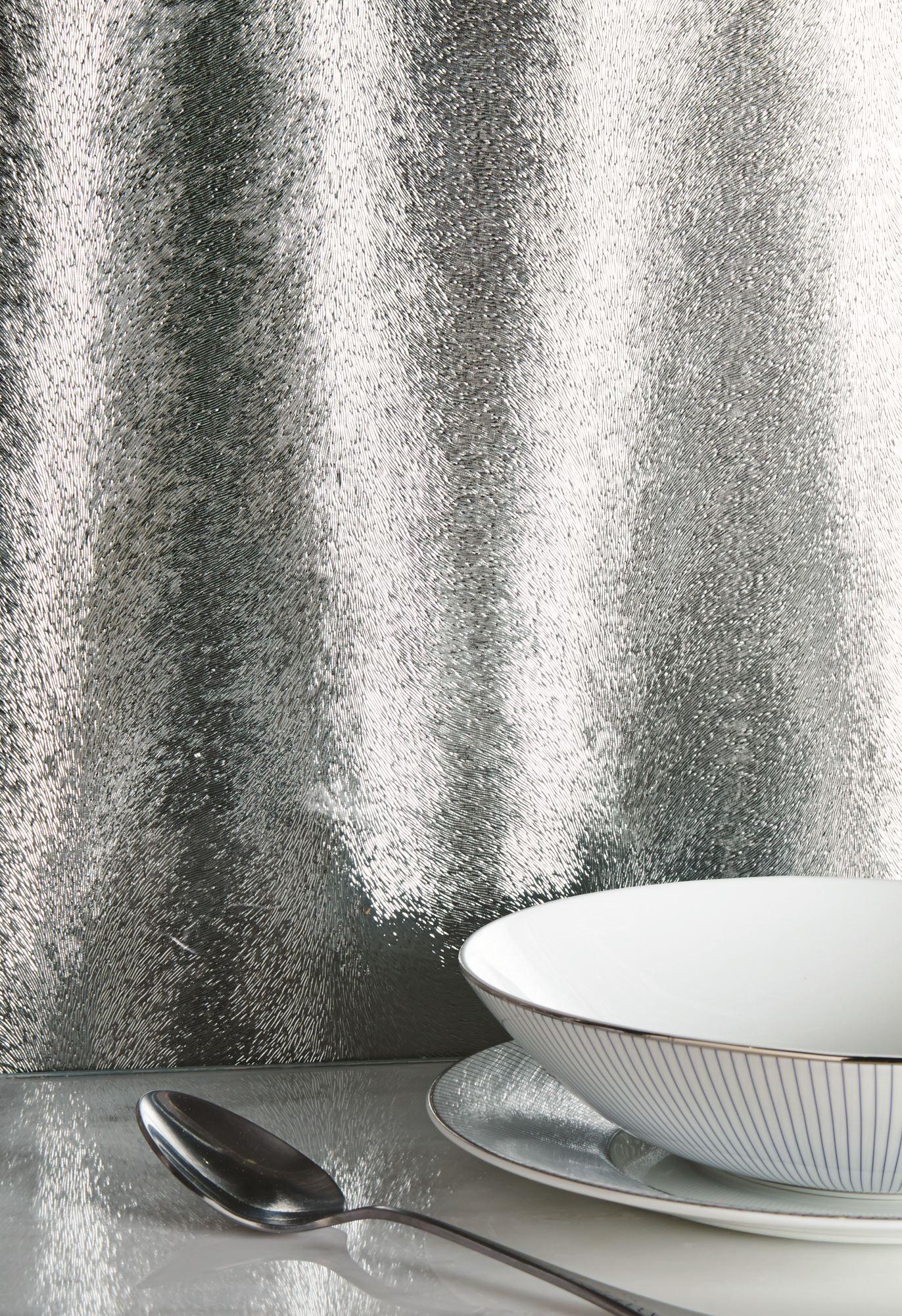 Aurora Borealis Metallic Silver Decorative Glass Tiles