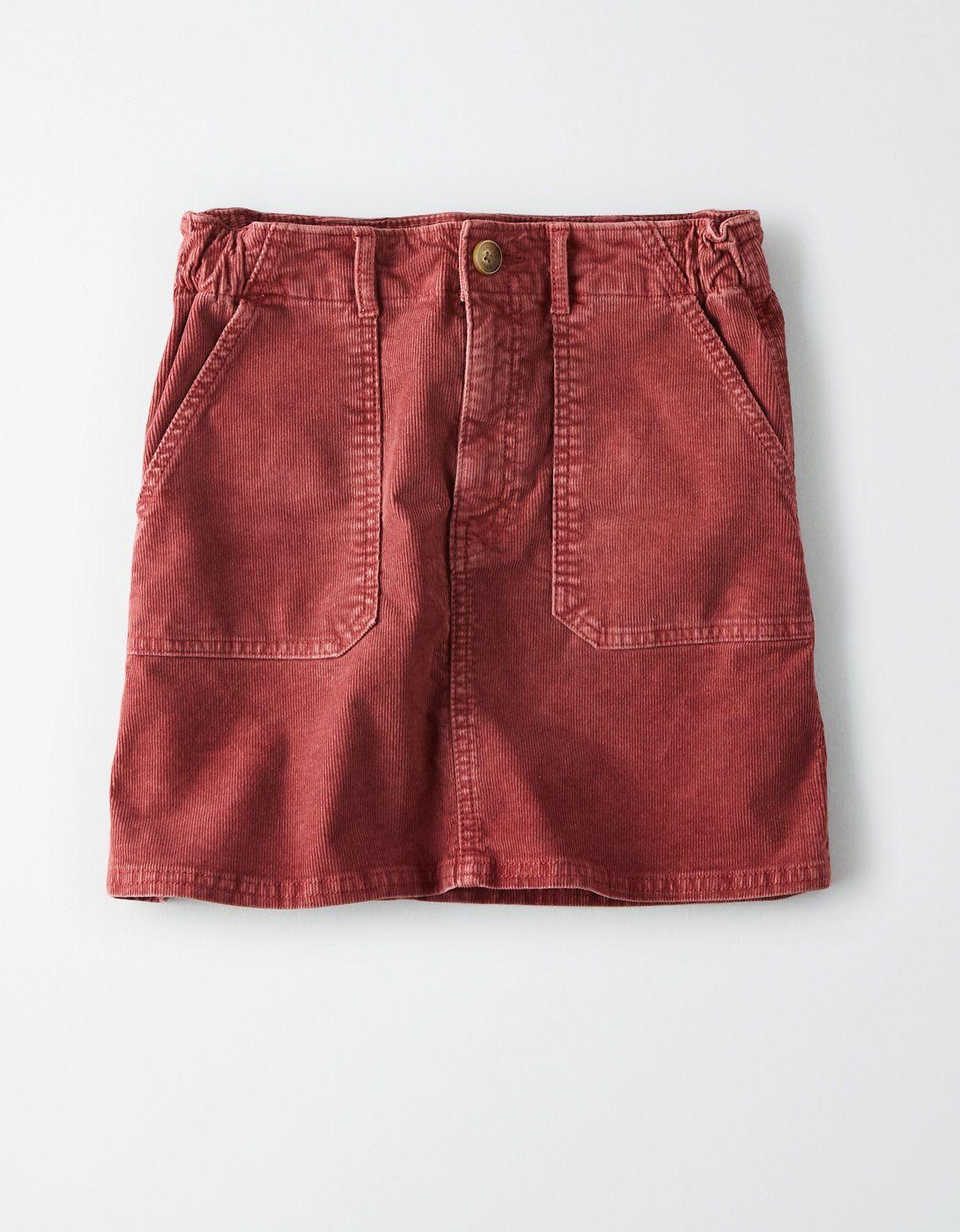 5a55272fa AE High-Waisted Corduroy A-Line Skirt, Berry   American Eagle Outfitters