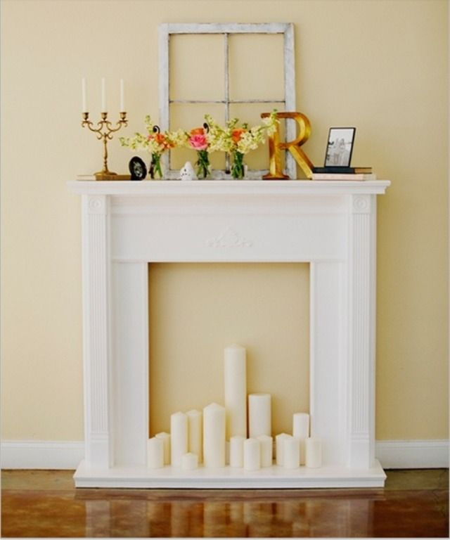Fake fireplace chimeneas falsas pinterest chimenea - Chimenea decorativa madera ...