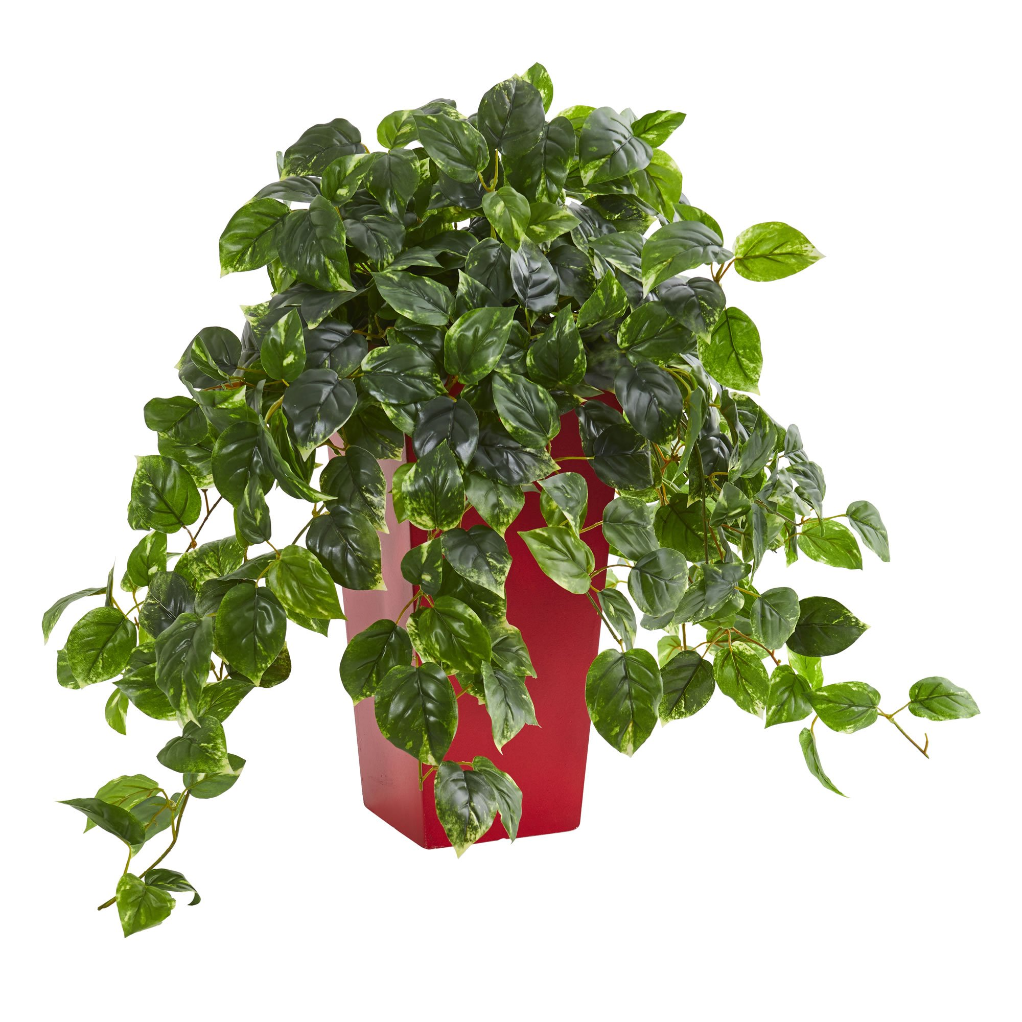Pothos Artificial Plant In Red Planter UV Resistant (Indoor/Outdoor)