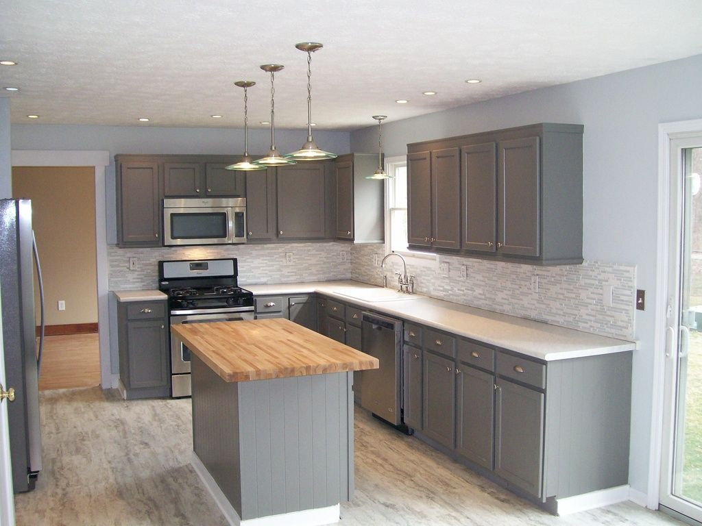 Flat Front Kitchen Cabinets Transitional Kitchen With Flat Panel Cabinets Wood Counters