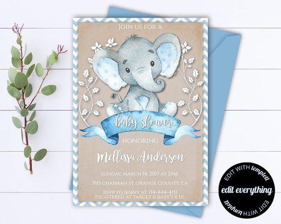 8a5ce43b2 Kraft Elephant Baby Shower Invitation Boy Baby Shower Invite Baby Elephant Baby  Shower Template Rust
