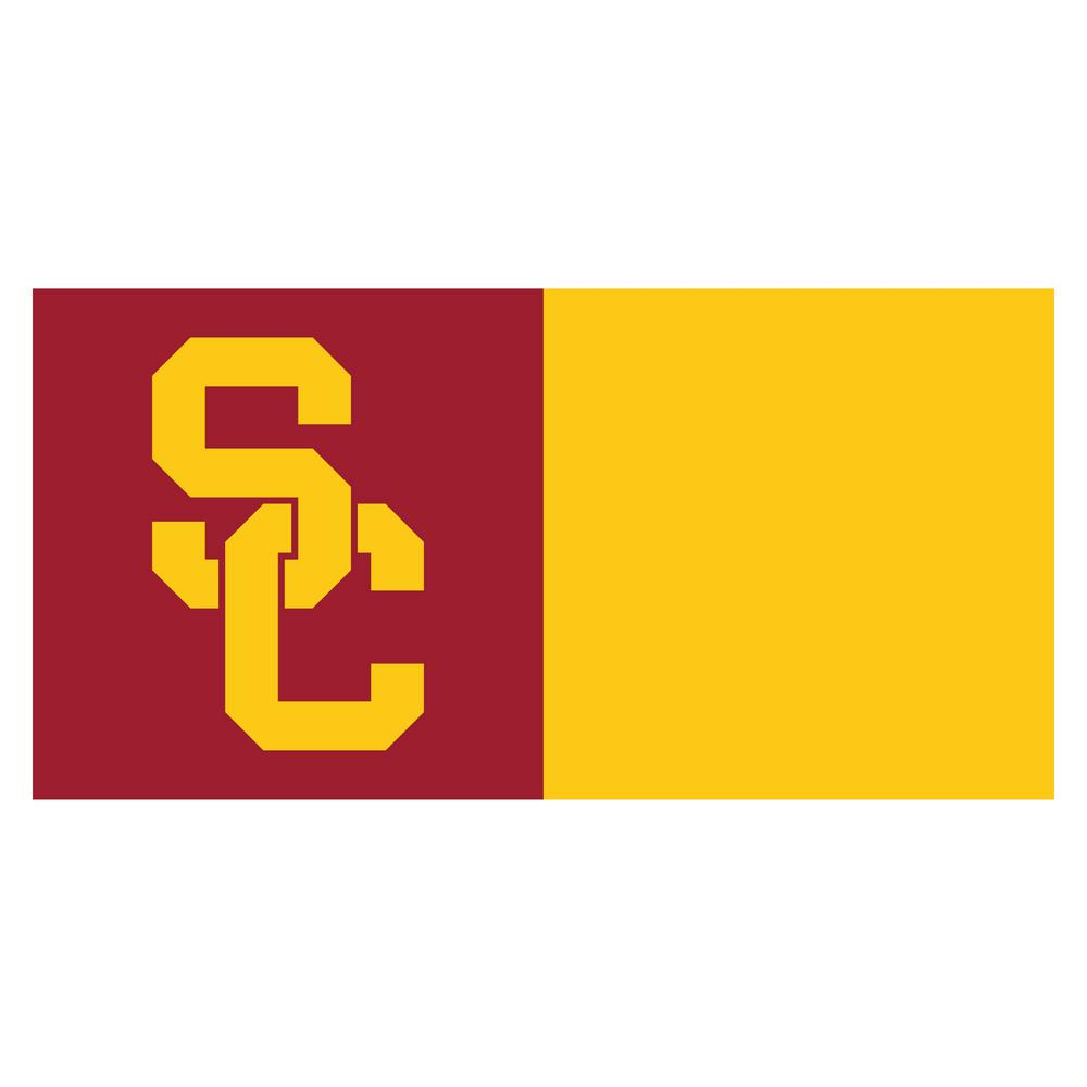 Ncaa - University of Southern California Maroon and Gold Nylon 18 in. x 18 in. Carpet Tile (20 Tiles/Case), Red And Yellow