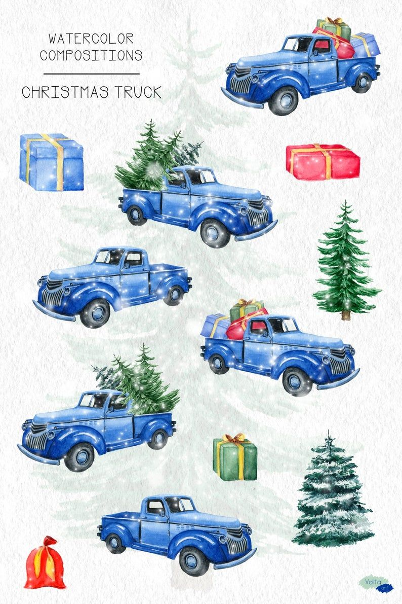 Truck Commercial 2020 Christmas Watercolor Blue Christmas truck Retro Christmas Pickup Pine | Etsy