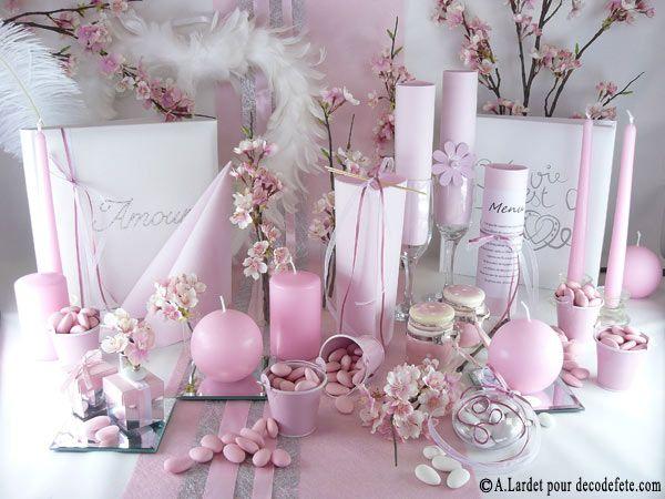 Pour un mariage romantique une d coration de table tout en douceur http ww - Decoration tables mariage ...
