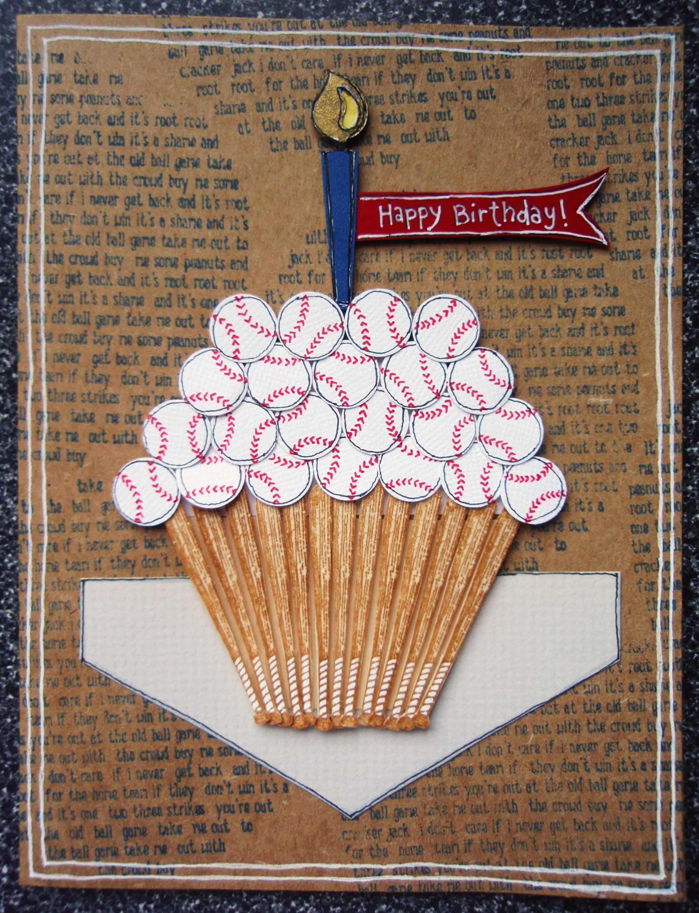 baseball rubber stamps Birthday Baseball Cupcake Card – M and S Birthday Cards