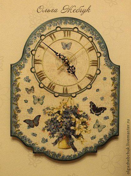 """Часы интерьерные """"Незабудки"""" - голубой,часы интерьерные,часики для дома"""