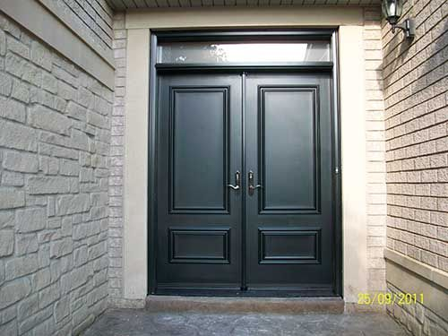 11 Smooth Doors Exterior Solid Fiberglass Double Doors With Transom