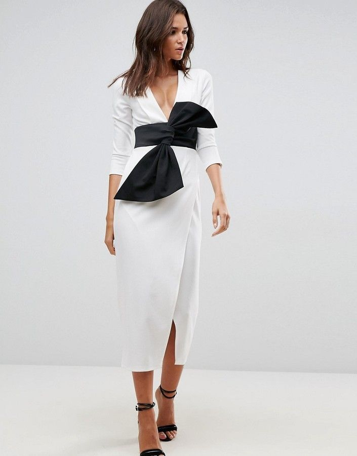 ASOS Deep Plunge Origami Bow Front Maxi Dress | Black and White - A ...