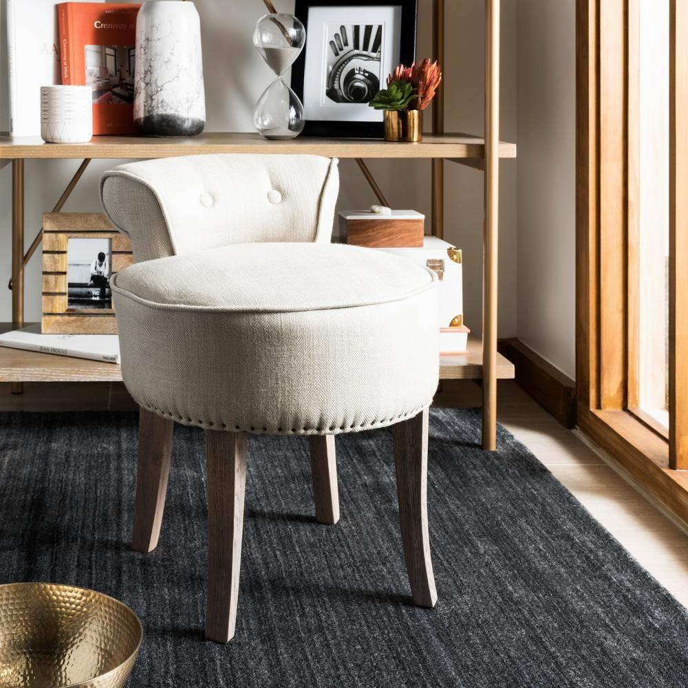 Safavieh Georgia Pearl Beige Linen Vanity Stool Pearl Beige Distressed Gray Vanity Stool Furniture Living Room Chairs