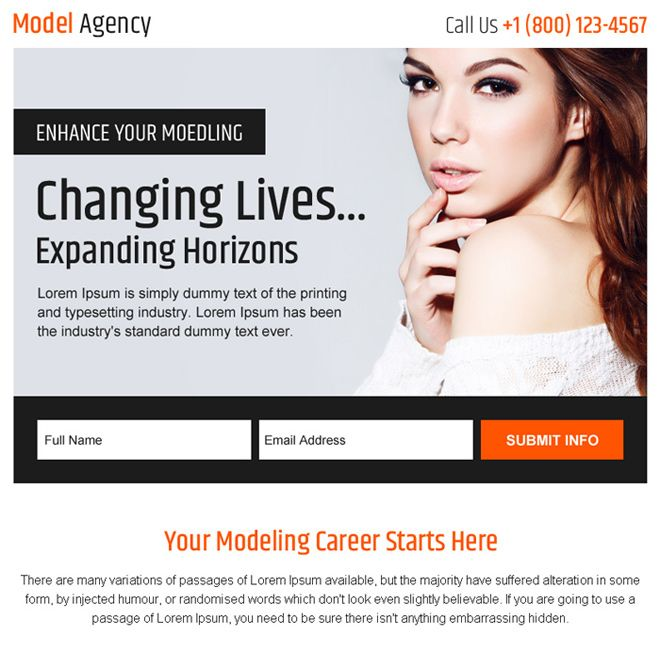 modelling agency sign up generating ppv landing page | PPV Design
