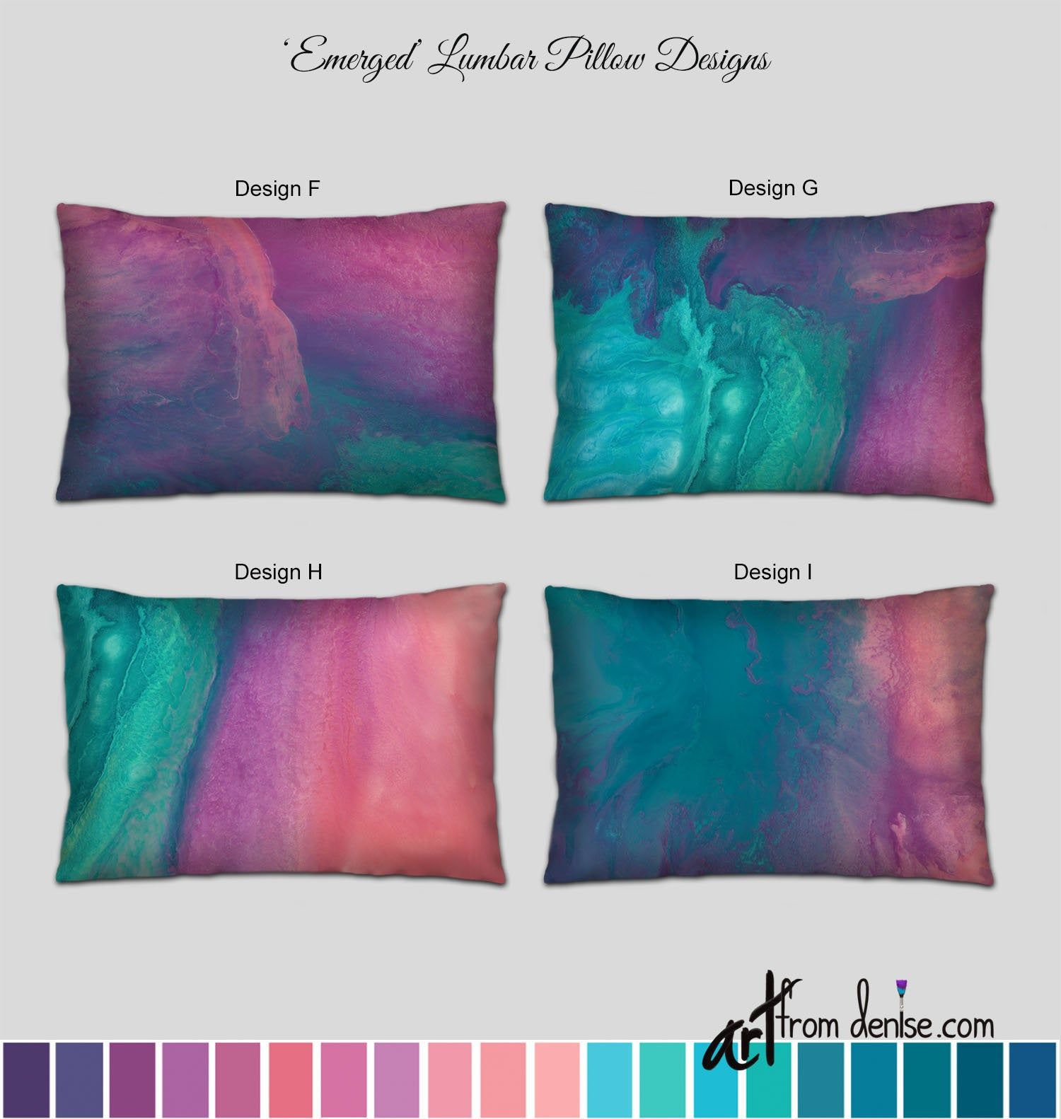 Coral Purple Turquoise And Teal Lumbar Pillow Colorful Abstract Throw Pillows For Bed Decor Or Outdoor L In 2020 Abstract Throw Pillow Throw Pillows Bed Throw Pillows