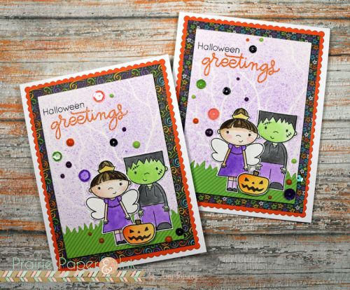 SSS Ghostly Greetings | Distress Ink Watercolor | AmyR Halloween Card Series #12