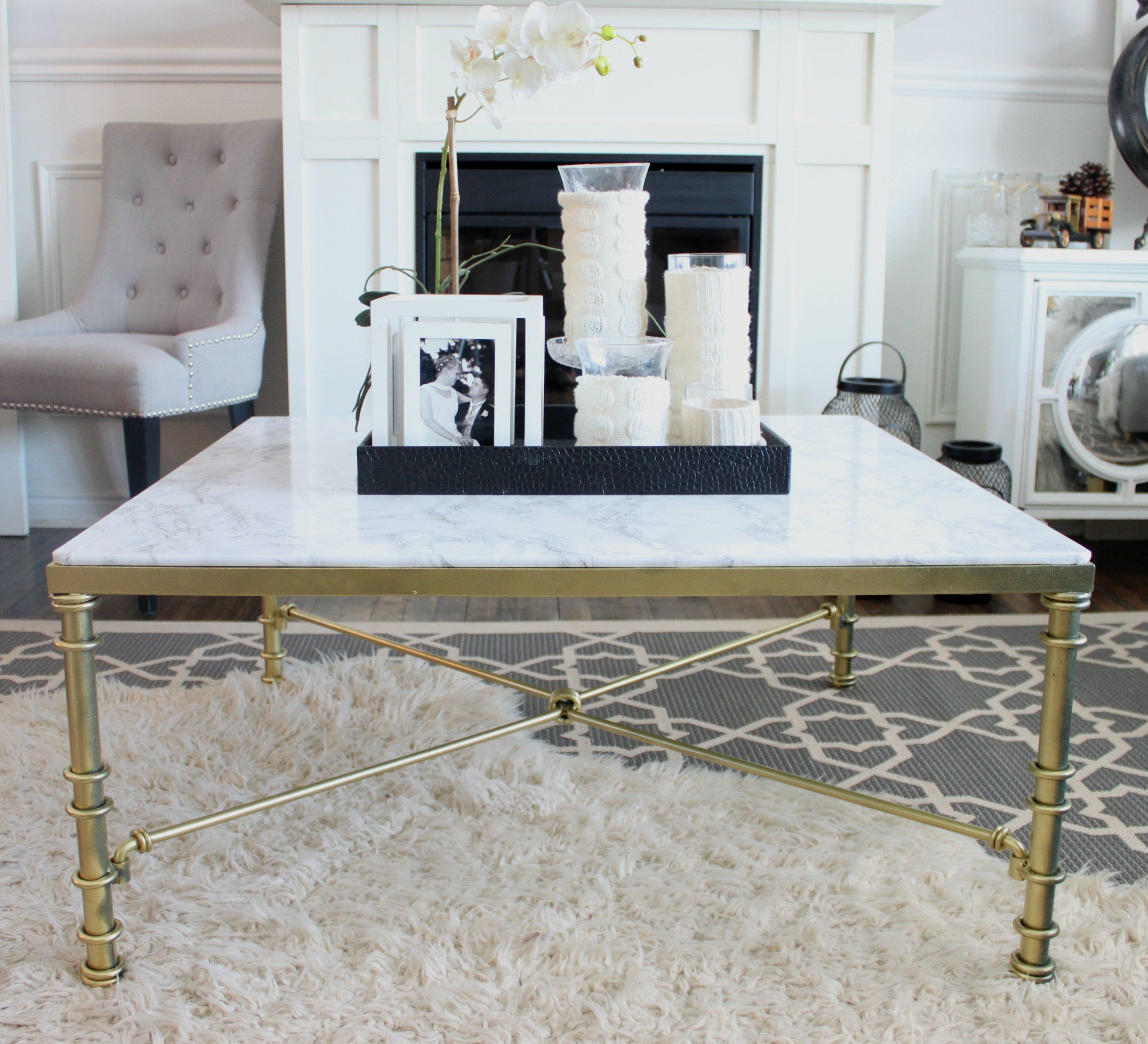 DIY Faux Marble Coffee Table