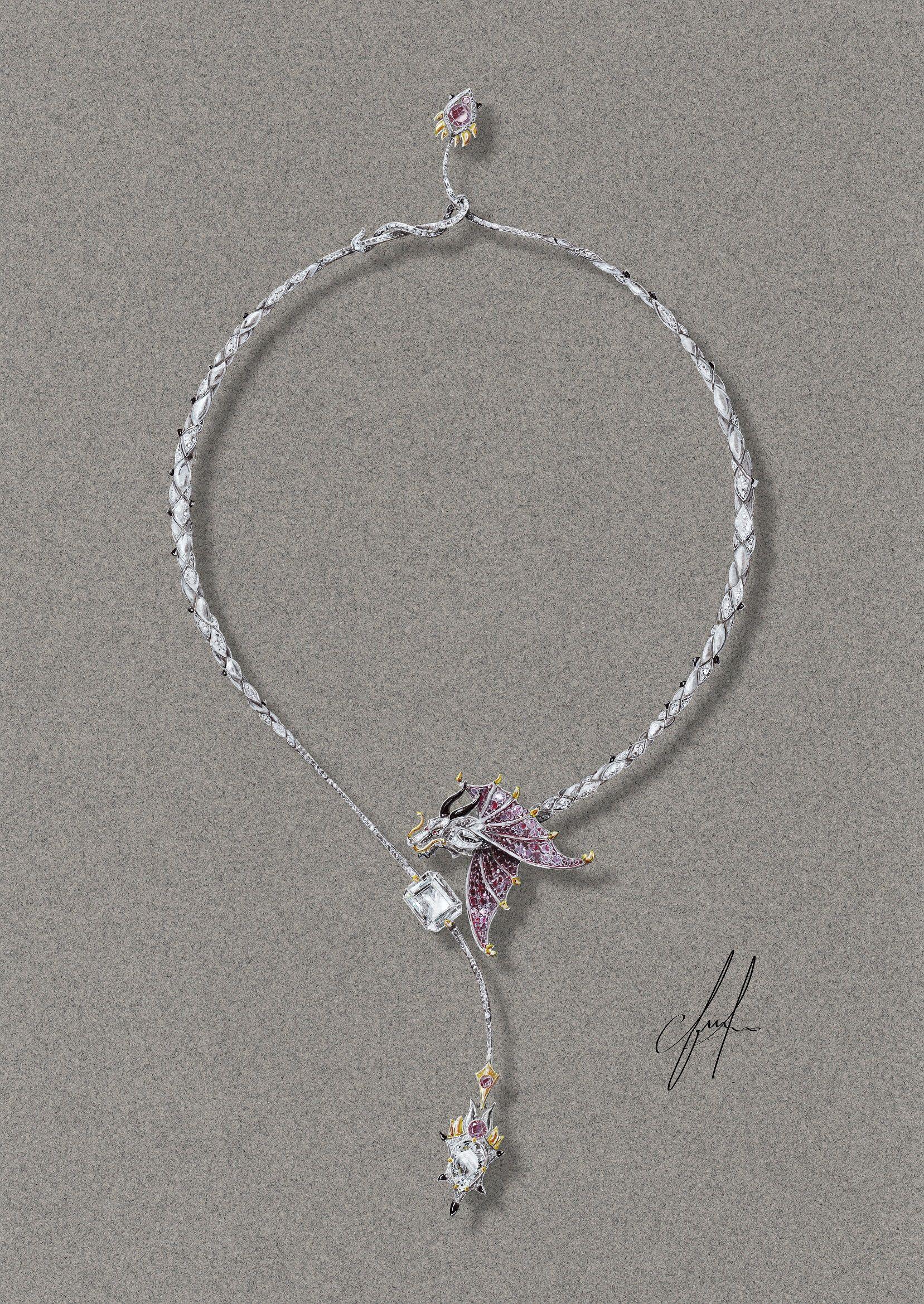 Tony FURION Dessin du collier DRAGON Design Gouache