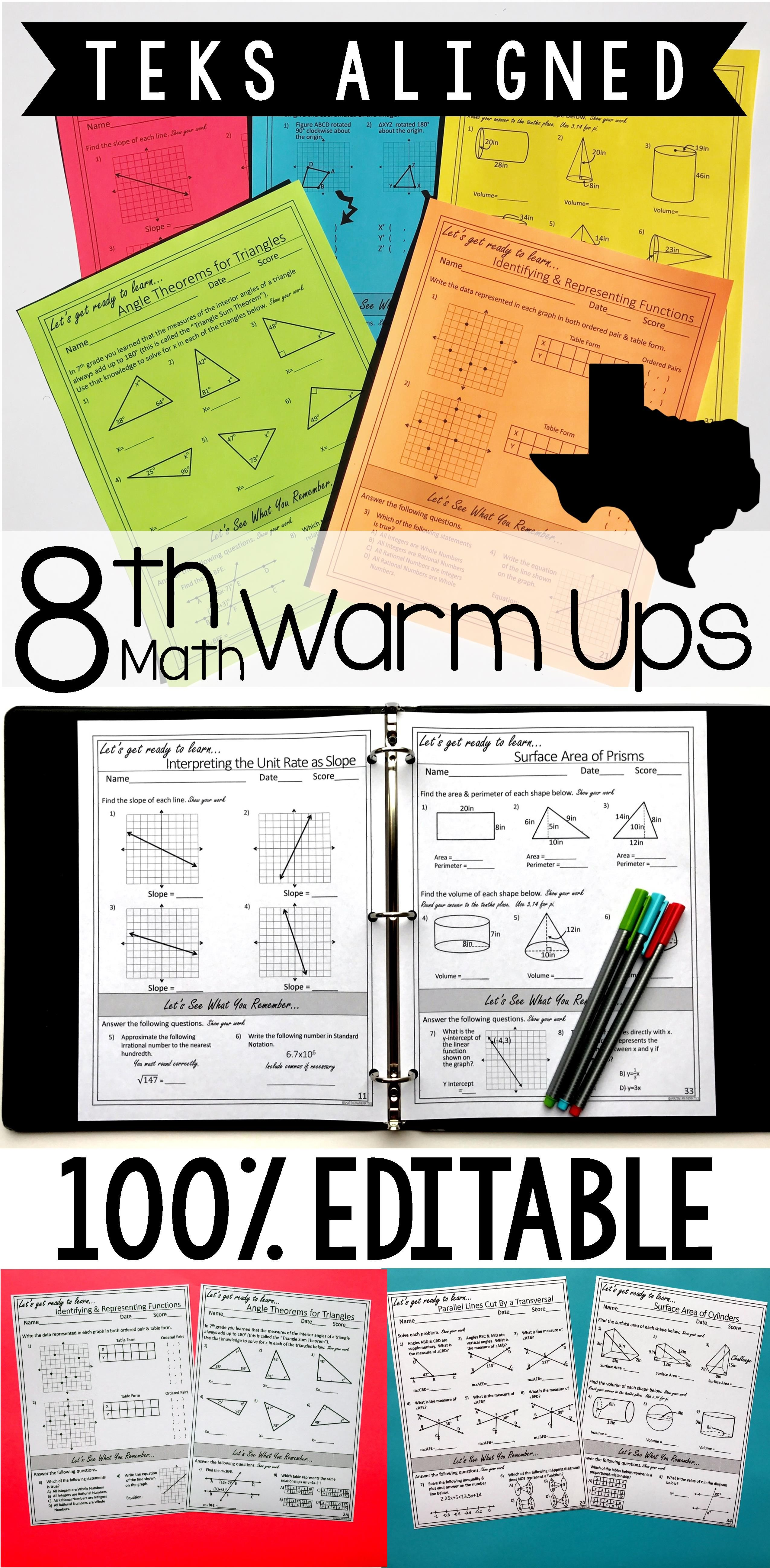 8th Grade Math Warm Ups