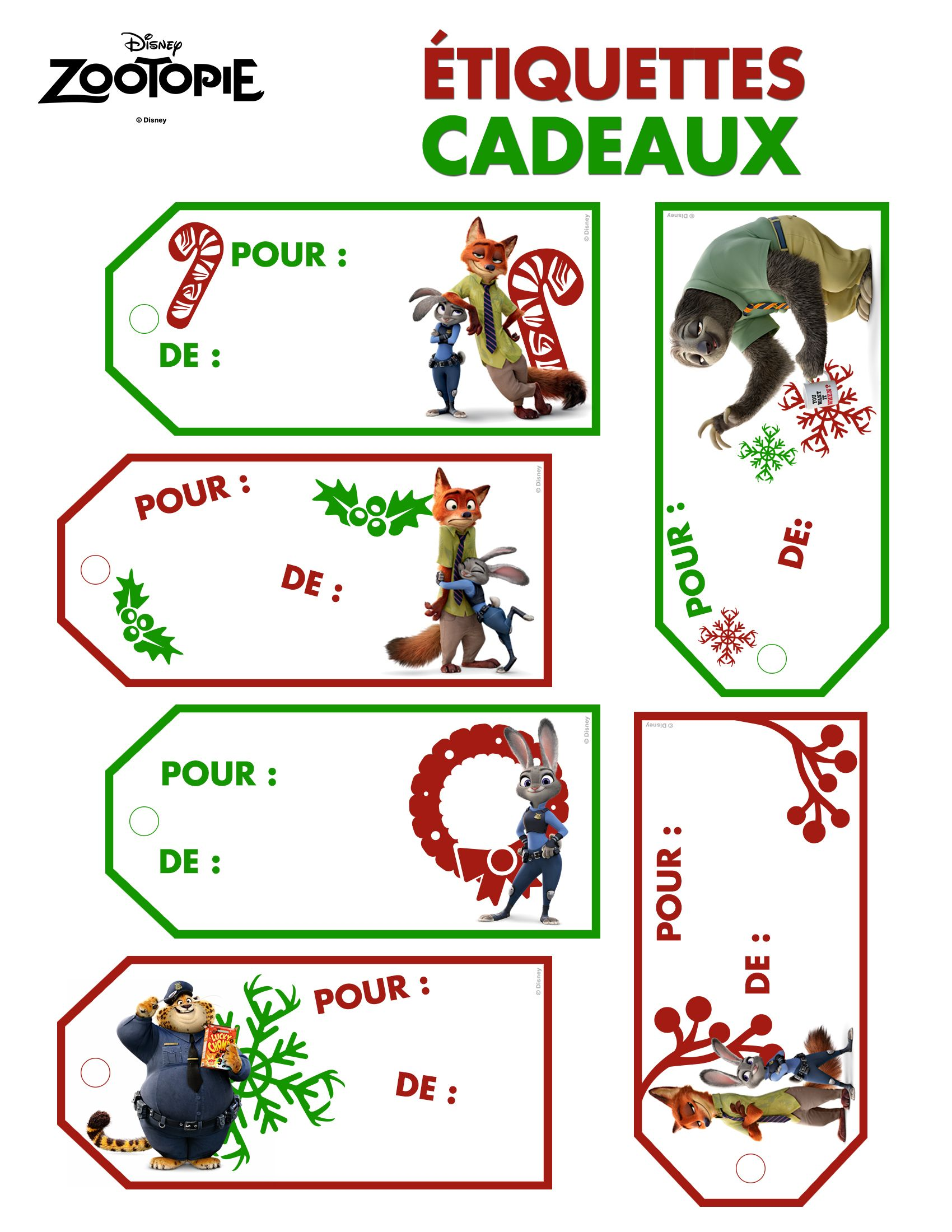 Etiquettes Cadeaux Zootopie