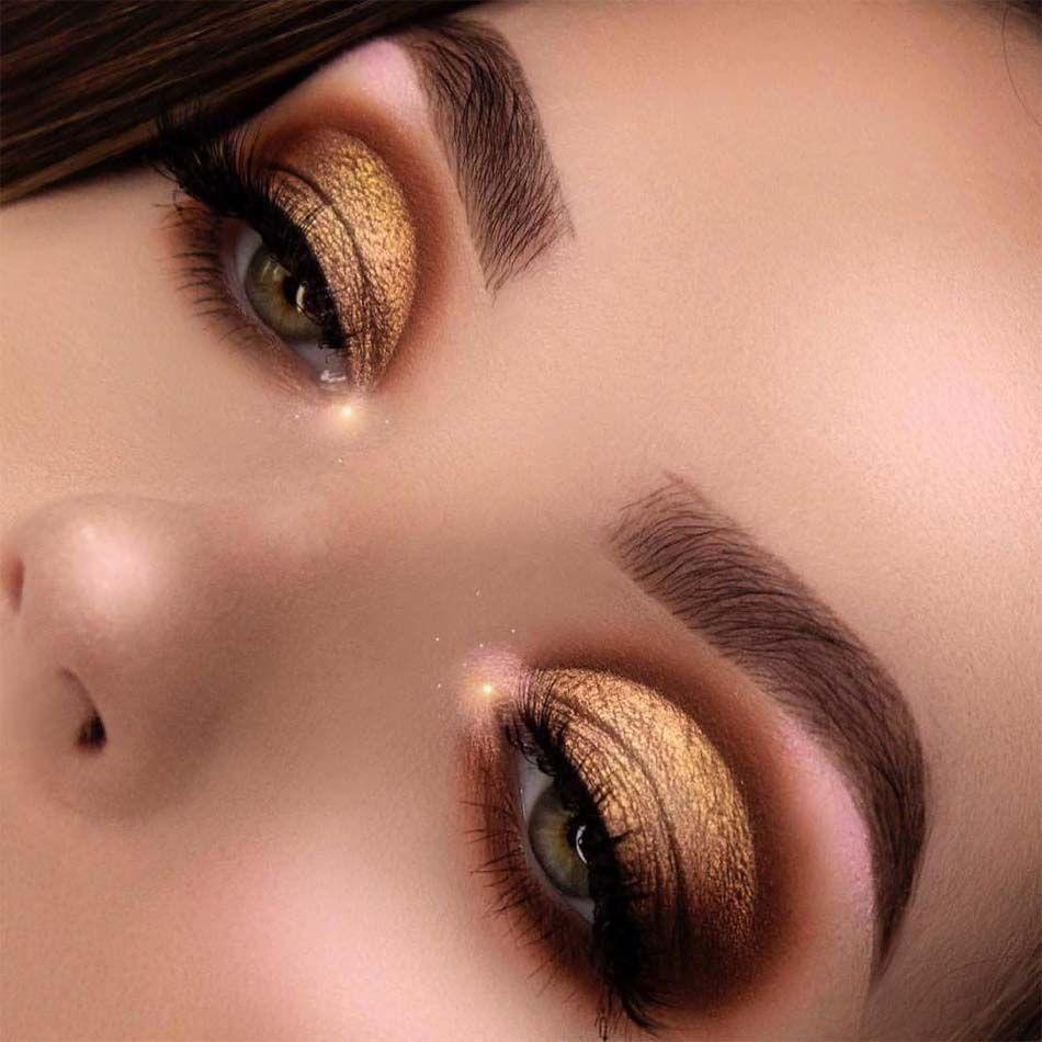 Awesome Gold Eyes Makeup 2019 Gold Eye Makeup Dramatic Eye