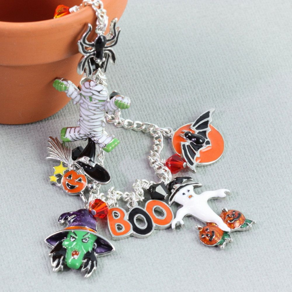 Halloween+Bracelet+Witch+Ghost+Black+Cat+by+AbacusBeadCreations,+$64.00