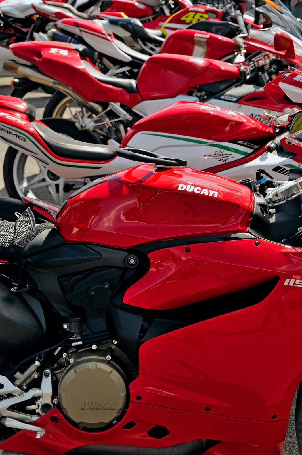 Ducati motor-bikes at Brooklands Surrey.