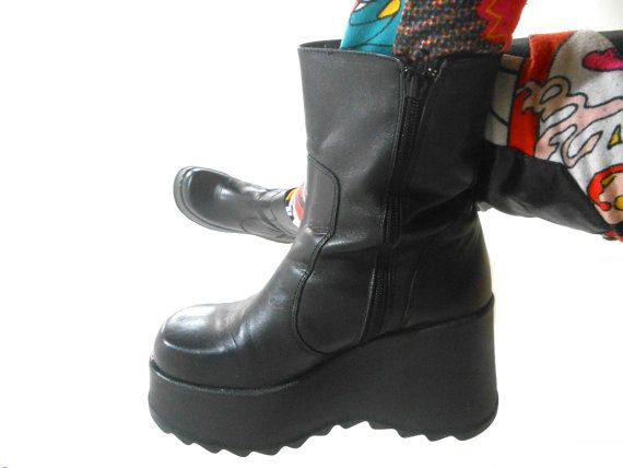 13e881a2e2f Who Remembers These Early 90s (1994 to be exact!) Vintage Steve Madden Boots   They were in the Doll-Girl Ads. They are Black Leather Wedge Platforms