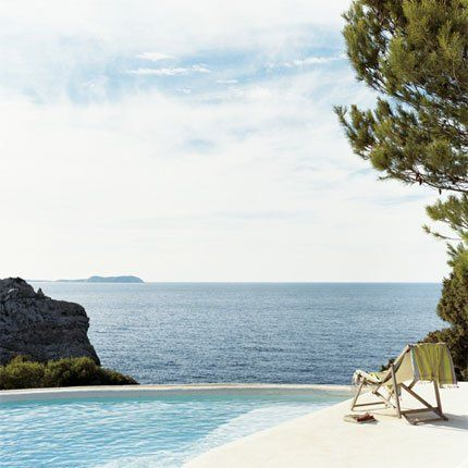 Ibiza. A small swimming pool designed by landscape architect Francis Navarro.