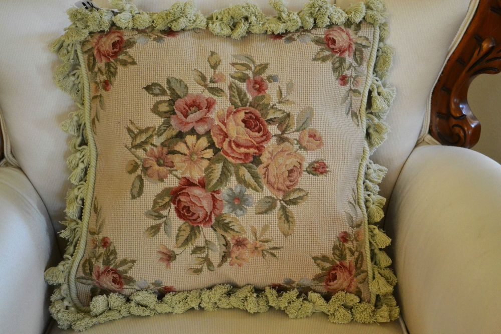 """16/"""" French Country Handmade Petite point Needlepoint Pillow Cushion DM-35"""