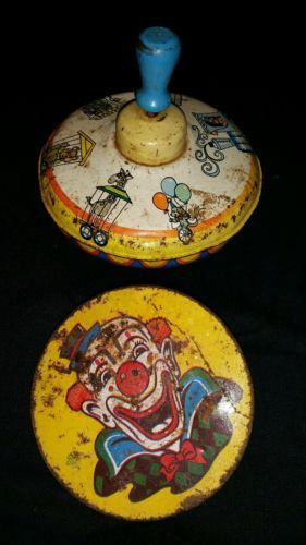 Vintage-Tin-Litho-Toys-Circus-Ohio-Art-Spinning-Top-U-S-Metal-Co-Parts-Repair