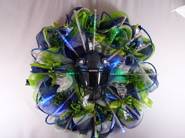 SEATTLE SEAHAWKS 12 led lighted wreath by ARTificialbyTina on Etsy