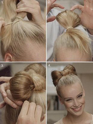 bow tie on hair steps. 1. Put your hair up where you want the bow. 2. Use another hairtie and wrap it around once 3. As you wrap it again stop in the middle leaving some hair exposed creating a bun. (the bigger the bun the bigger the bow) 4. Carefully and neatly split the bun in half.  5 wrap the exposed hair down the middle and pin 6. Spray to hold and your bow tie is complete!