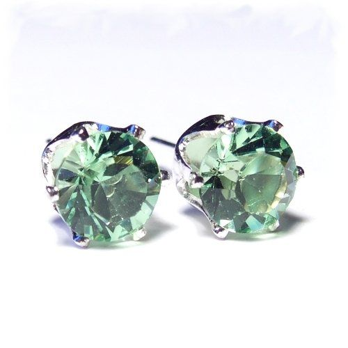 Silver Solitaire Stud Earrings Set With Peridot Green Swarovski Crystal Co