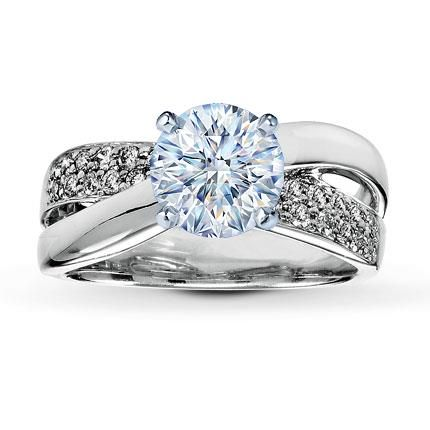 031 Carat HI1 Ideal Cut Round Diamond plus Diamond Ring Setting 1